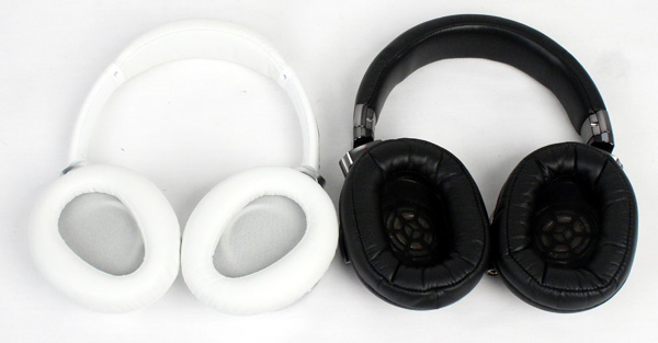The difference in the shape of the ear-cups of the two headphones is evident here. The Sony MDR-10R (left) has more ergonomically shaped cushioning while the Sony MDR-1R's (right) cushions are much larger and oblong.