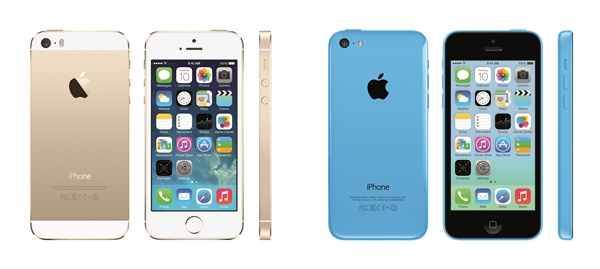 The Apple iPhone 5S (left) and iPhone 5C (right). <br>Image source: Apple