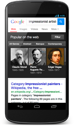 A filter list lets you view adjacent results similar to your search, so if you searched for Impressionists, you'd get a filter for other genres of art like Abstract. Image source: Google.