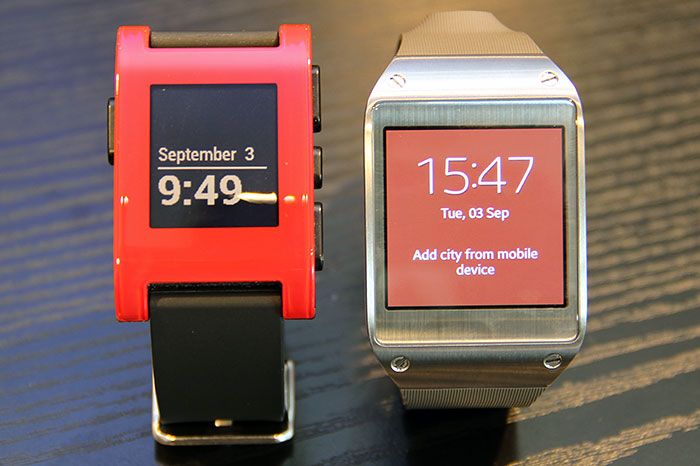 The Pebble (left) watch costs US$150. How much are you willing to pay for the Samsung Galaxy Gear?