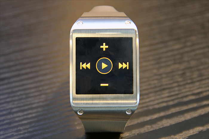 The watch can serve as music playback controls for the master device.