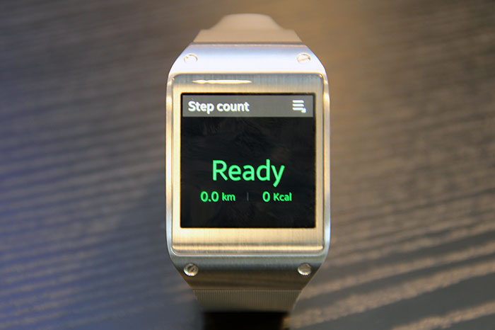 The Galaxy Gear may find favor with fitness enthusiasts. In addition to the built-in pedometers, it also works with apps like Runtastic and RunKeeper.