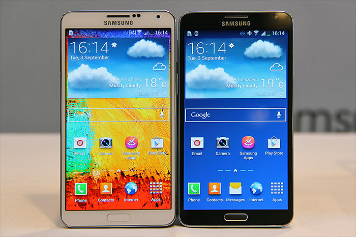 The Samsung Galaxy Note 3 seen in this photo sports a 5.7-inch Full-HD Super AMOLED display.