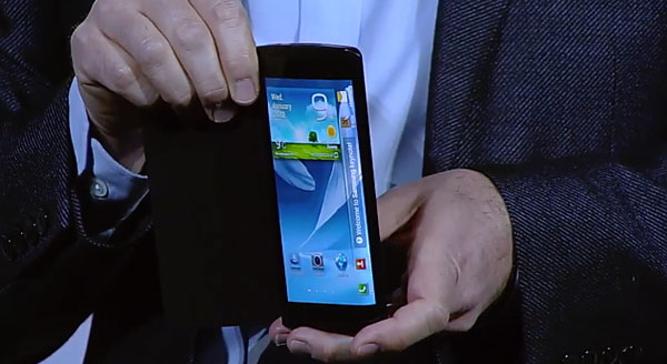 A Samsung Youm prototype device with a bended display was shown at CES 2013. (Screenshot from SamsungTomorrow CES 2013 keynote video.)