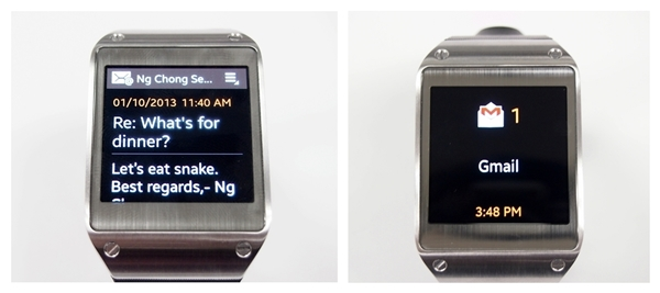 You must use the default Email app (left) on the Samsung Galaxy Note 3 to view the content of the email on the Galaxy Gear. If you use other email apps such as Gmail (right), the Gmail logo with a number count will appear.