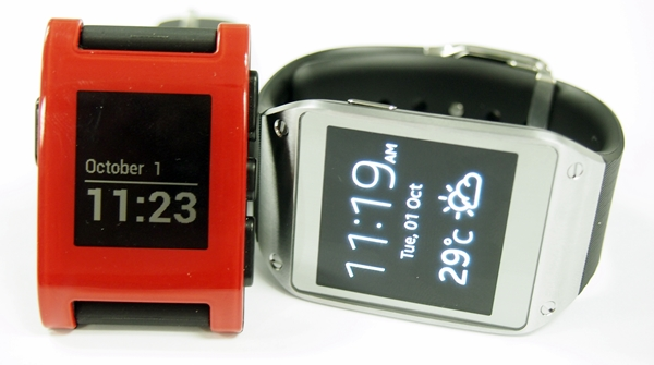 The Samsung Galaxy Gear uses a Super AMOLED display compared to the black and white LCD display of the Pebble Watch.