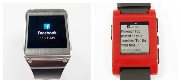 The same limitation applies for notifications from social networking sites. You can only see that there is a Facebook notification on the Galaxy Gear (left), unlike the Pebble Watch which gives you a preview of the notification (right).