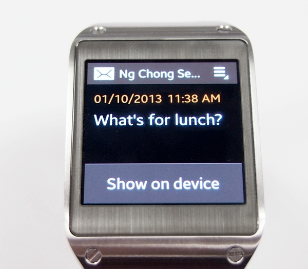 You get to see the content of a text message on the Samsung Galaxy Gear, You can use S Voice to reply to text messages by tapping on the Menu option at the top right corner.
