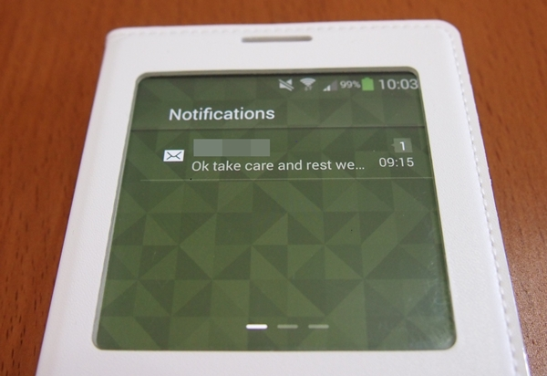 The S View cover gives you a preview of any unread messages.
