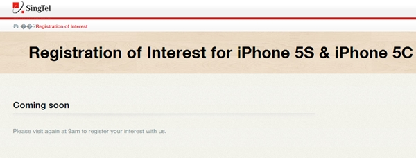 SingTel will start the registration of interest for the new iPhones at 9AM. <br> Image source: SingTel