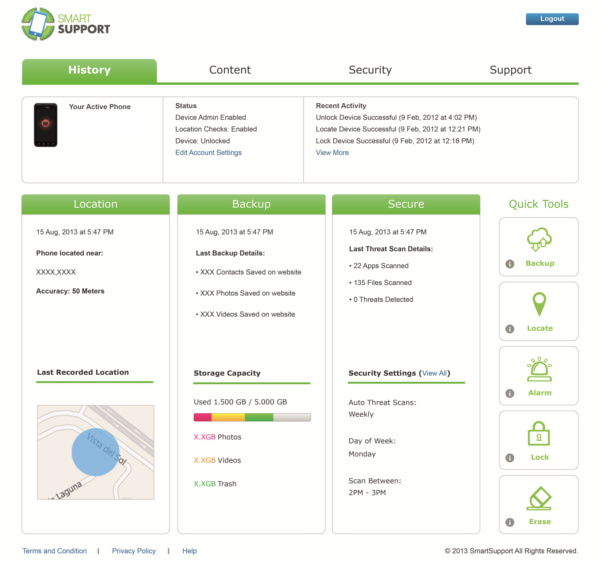 SmartSupport Web Portal.