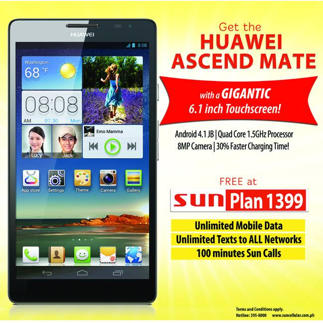 Quad core huawei ascend mate comes free with sun cellular for Sun mobile plan