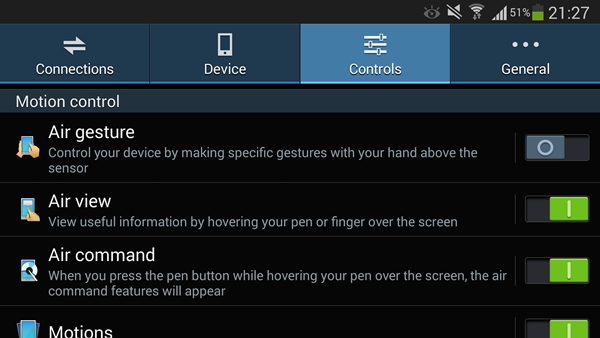 Air Gesture, Air View and Air Command are found on the Galaxy Note 3.
