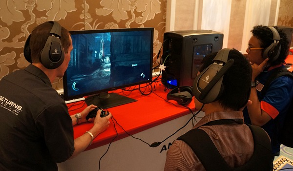 A group of tech journalists (like ourselves) checking out the new Thief game demo with AMD TrueAudio Technology in action. In our opinion, it really works out as advertised bringing heightened game realism.