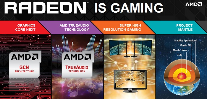 The four pillars of the new R9 and R7 Radeon graphics cards.