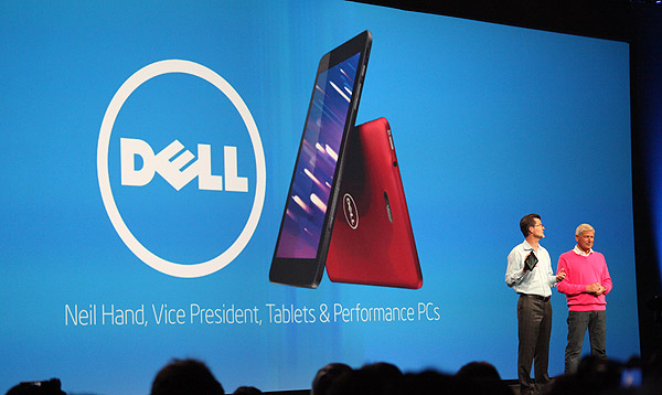 Dell made an appearance at the keynote to introduce the new Dell Venue family of tablets. Neil Hand, Dell's VP teased with a new 8-inch Windows 8 tablet that comes with LTE connectivity and based on Bay Trail. Dell is expected to announce the entire product family on October 2.