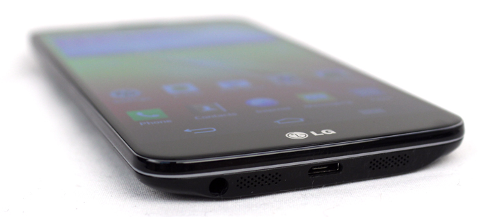 The bottom of the phone houses two speakers, a micro-USB port, and the 3.5mm headphone port. Unfortunately, there's no microSD expansion card slot.