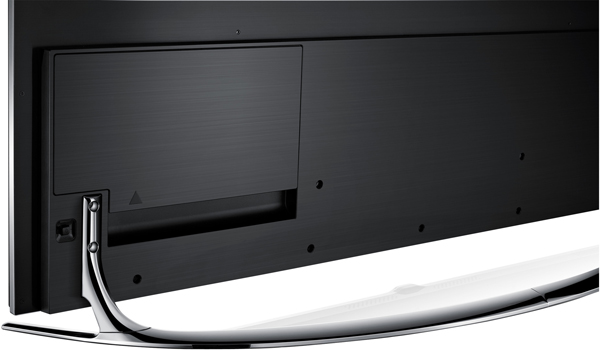 Clean Back design means that the back of the TV also has a refined finish. Also noticeable in this shot is the panel which covers the ports.