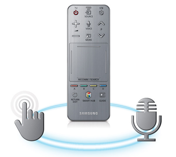 The new smart remote has a wide touch-pad that helps you navigate the Smart Hub. It also comes with a microphone to pick up voice commands.