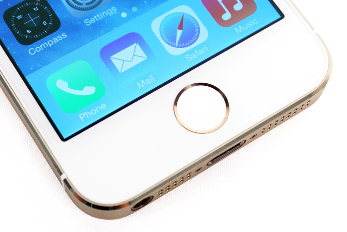 The metallic  ring around the Home button activates the biometric fingerprint sensor.