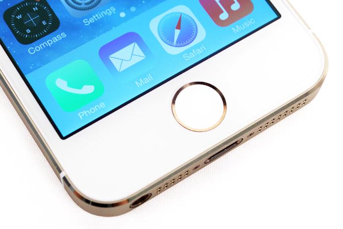 The metallic  ring around the Home button activates the biometric fingerprint sensor.