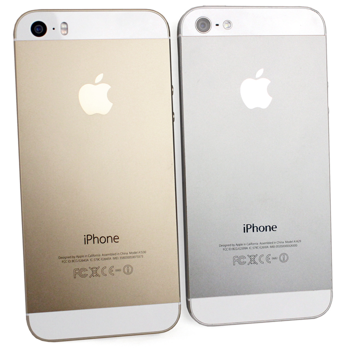 The 'iPhone' wordmark on the back of the 5S now uses a lighter weight of Myriad. <br> 5S on the left, 5 on the right.