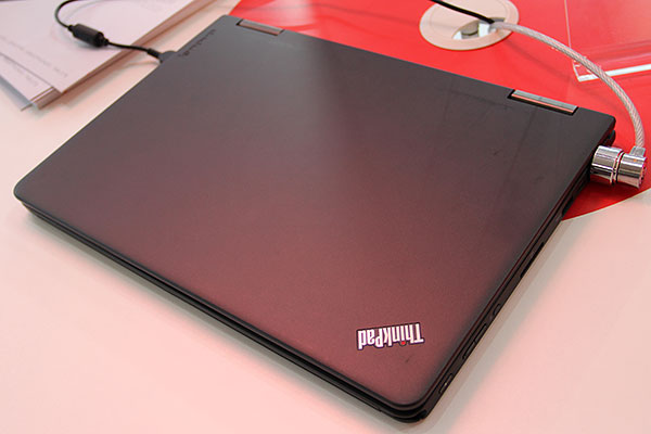 The matte, rubbery black cover and the ThinkPad logo remind you that despite its dexterity, it's still a ThinkPad.