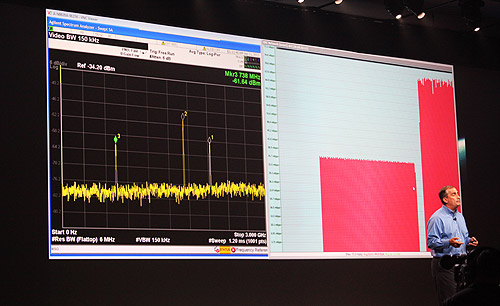 LTE-Advanced demonstration shows how data throughput was doubled through carrier aggregation.