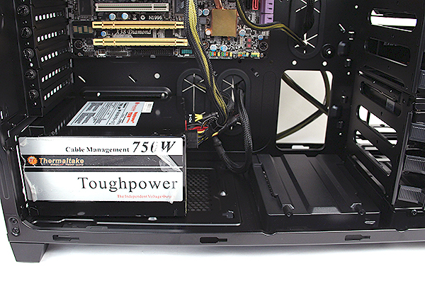 To accommodate larger PSUs, users who need to reconfigure the position of the HDD cage as well as remove the mount. The mount needs to be undone from the bottom by removing four screws.