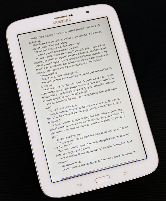 Reading Mode Display - definitely less harsh and easier on the eyes.