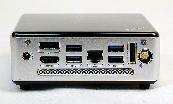 Round the back are four USB 3.0 ports, a DisplayPort, HDMI port, eSATA port, an Ethernet jack and an antennae mount for Wi-Fi.