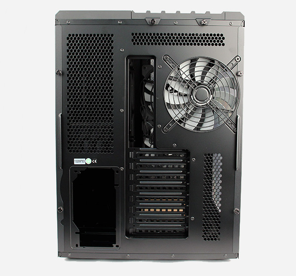 Looking at the rear, we can better appreciate the dual chamber design. On the right is where the motherboard would be, whereas the PSU will sit on the bottom left corner in a separate chamber. Note the large 140mm exhaust fan.