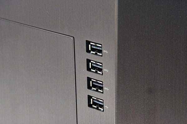 For easy accessibility, the USB ports aren't hidden behind the panel.