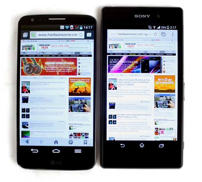 The G2 packs a 5.2-inch display into a 5-inch form factor, and is actually smaller than some other 5-inch smartphones like the Sony Xperia Z1.
