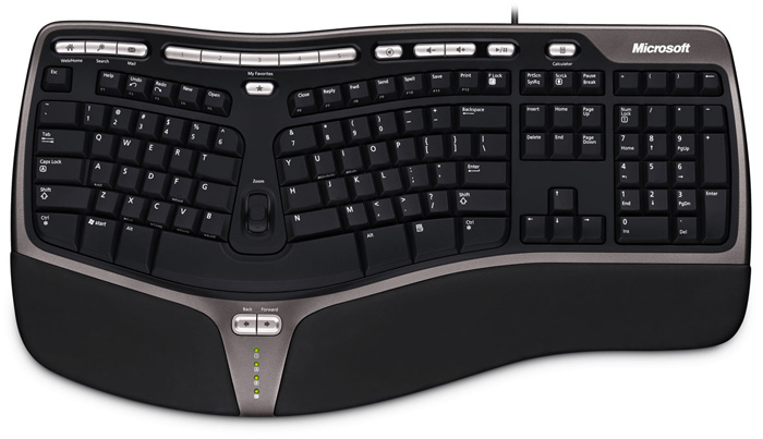 The eight-year old Microsoft Natural Ergonomic Keyboard 4000.