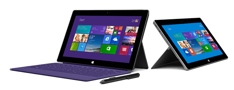 The new Microsoft Surface Pro 2 (left) and Surface 2 (right).