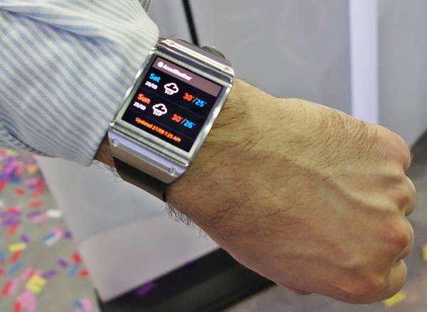 The Samsung Galaxy Gear smart watch has a 1.63-inch AMOLED screen.