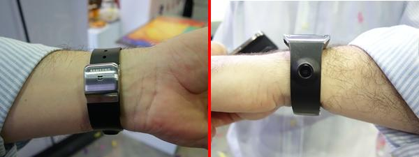 The onboard microphone of the Galaxy Gear (left) and its nifty 1.9MP camera (right).