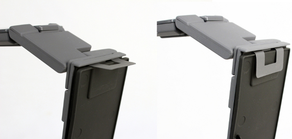 The Xcanex is mounted onto the stand with the help of a flexi-hook (pictured) and an elastic velcro strap (below).