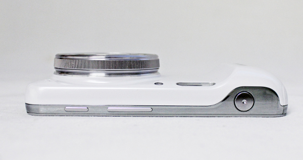 The S4 Zoom comes with a dedicated shutter release button, which is the large button on the right here. The other controls seen here are the power button and volume rocker.