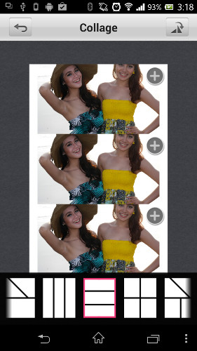 The collage function allows for up to four pictures to be inserted in the provided templates.
