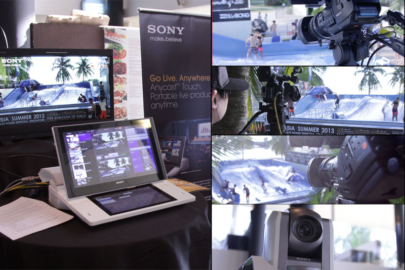 The setup: 3 Sony Broadcast Cameras and 1 Sony Robotic camera connected to the Anycast Touch.