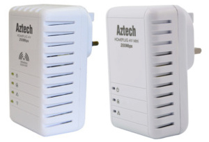 Aztech AZ-HL113E + AZ-HL110EW 200Mbps Homeplug set with 300Mbps Wireless Extender