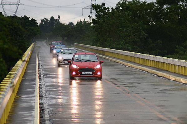 There was a point during the convoy where it rained, but it didn't affect the performance of the Fiestas.
