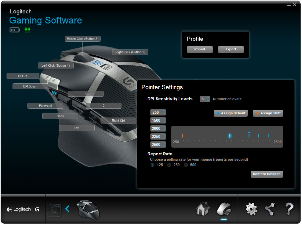 The G602's driver software lets you configure all buttons, as well as fine tune DPI and polling rate settings.
