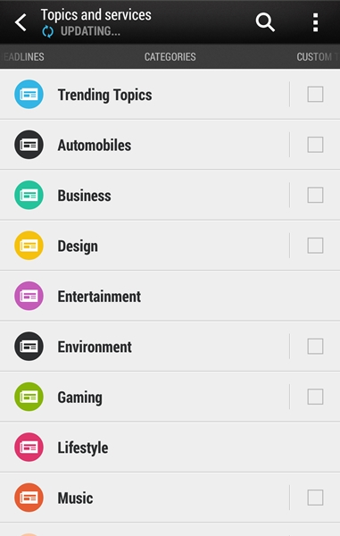 HTC adds new categories to BlinkFeed.