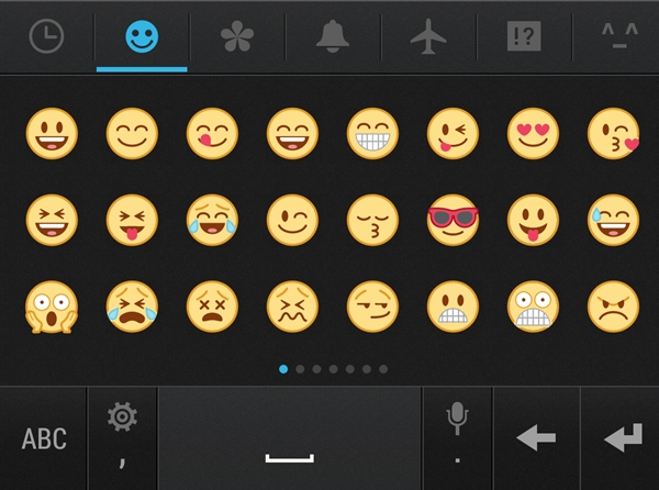The HTC keyboard comes preloaded with emoticons.