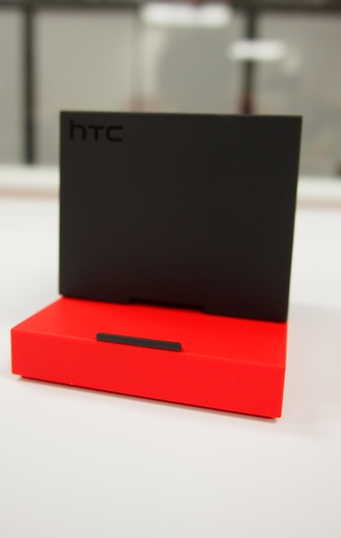Slide the top black section of the HTC BoomBass to reveal a stand for you to place the HTC One Max in landscape or portrait mode.