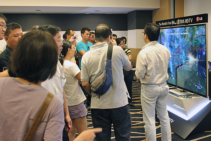Attendees were reminded that the 4K UHDTVs are also 3D TVs. A proponent of FPR (film pattern retarder) 3D tech, LG's Cinema 3D glasses are light, battery-free, and economical.