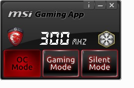 The MSI Gaming App that has pre-set performance profiles to suit the requirements of the user.
